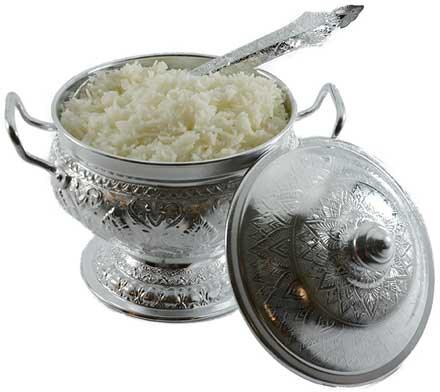 Silver rice bowl