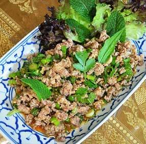 Thai serving platter with food