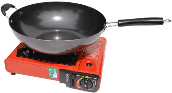 Portable Gas Burner with a flat bottom Wok