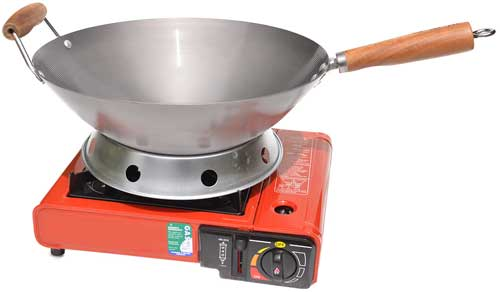 Portable Gas Burner with a round bottom Wok
